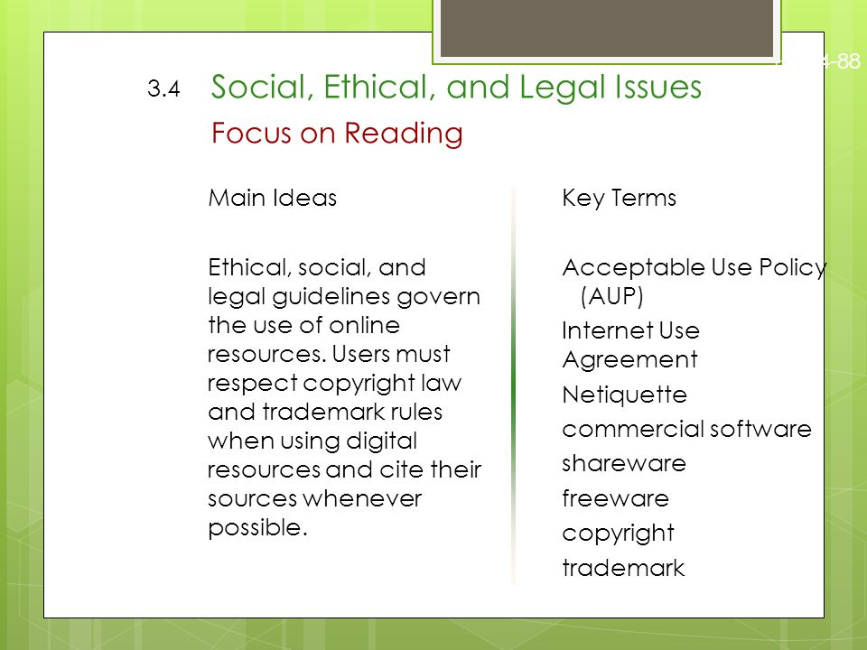 Social Ethical And Legal Issues Web Design 3 4 Social Ethical And Legal Issues Focus On Reading Main Ideas Ethical Social And Legal Guidelines Govern Ppt Download