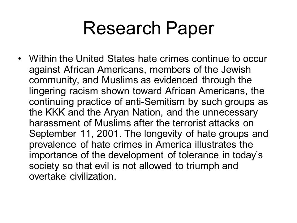 the problem of hate crime in schools essay
