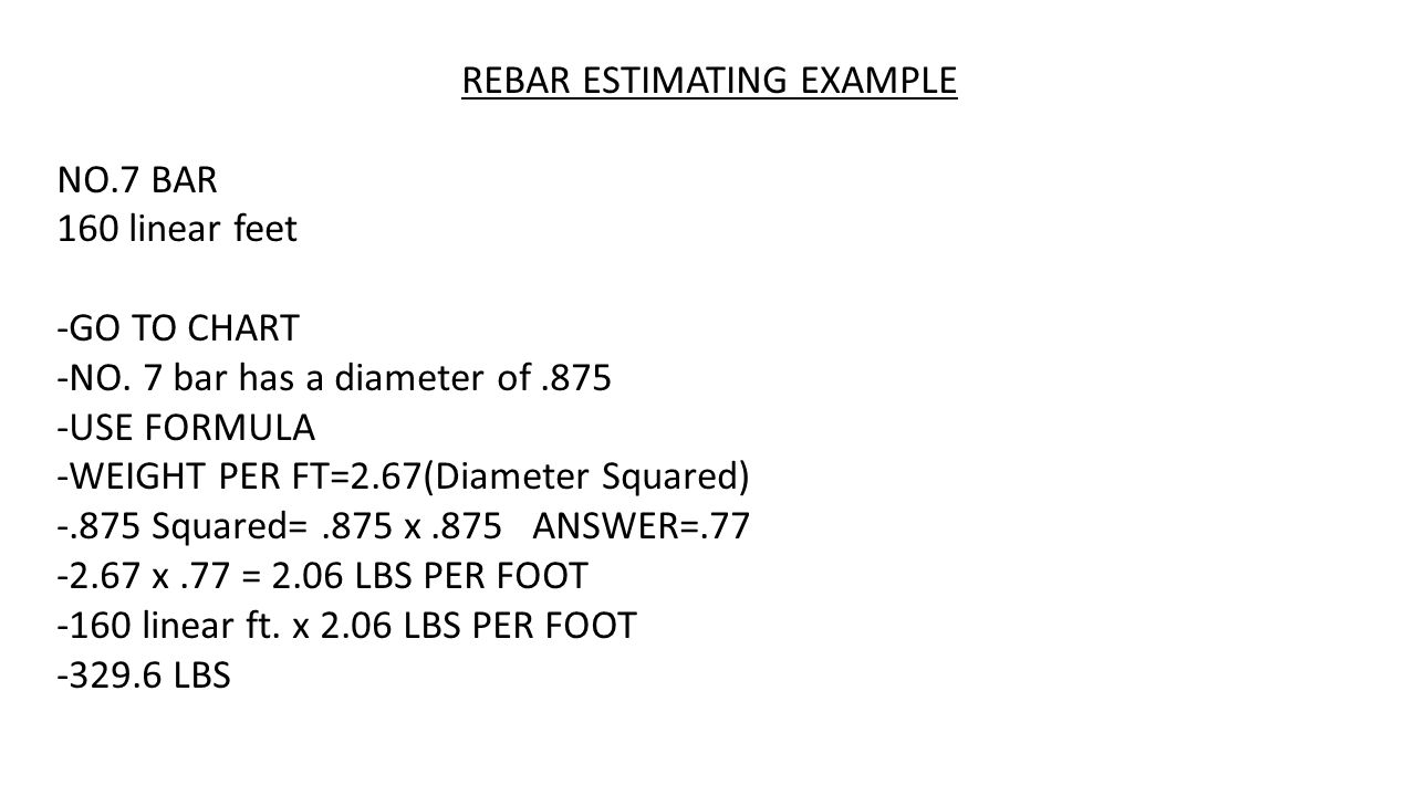 ESTIMATING STEEL FOR CONCRETE POURS REBAR Estimated By The Pound