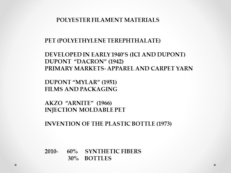 POLYESTER FILAMENTS- MATERIALS PROPERTIES PRODUCTS AND MARKETS