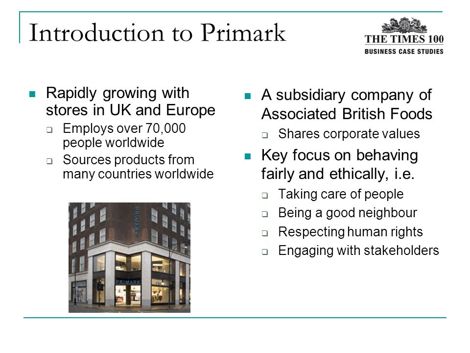 primark case study on stakeholders