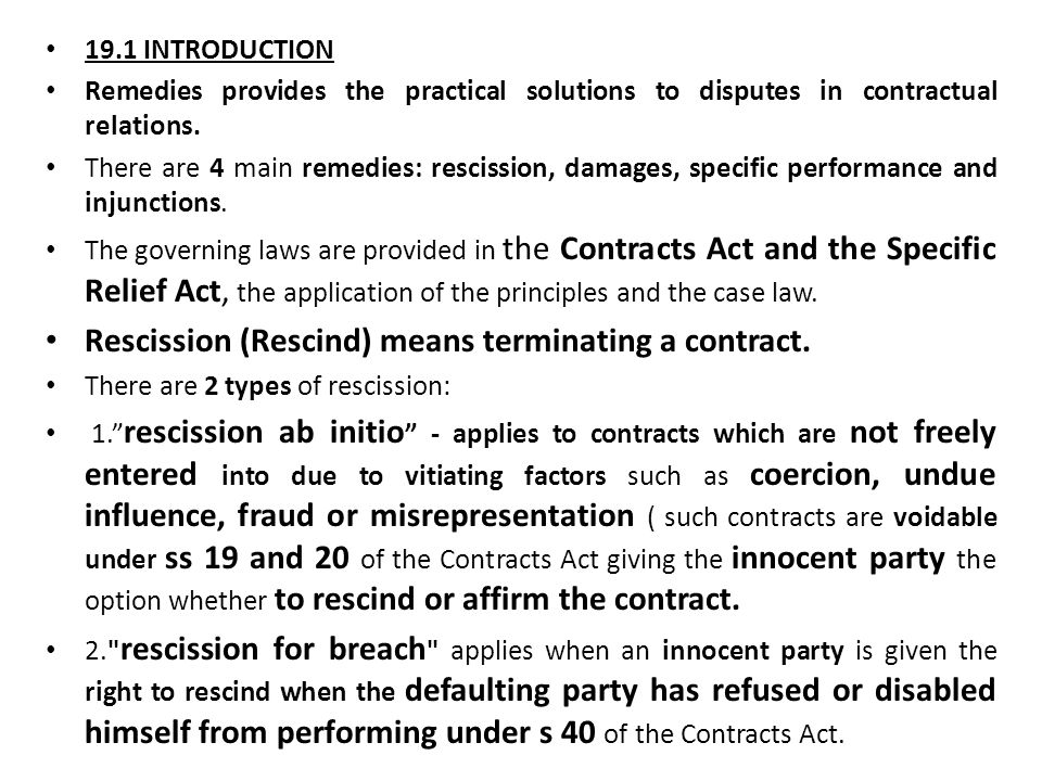 CHAPTER 19 Rescission INTRODUCTION Remedies provides the