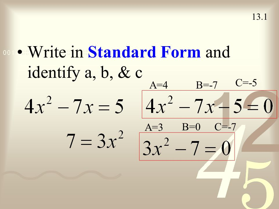 Rewrite Quadratic Equation In Standard Form Image Collections Free