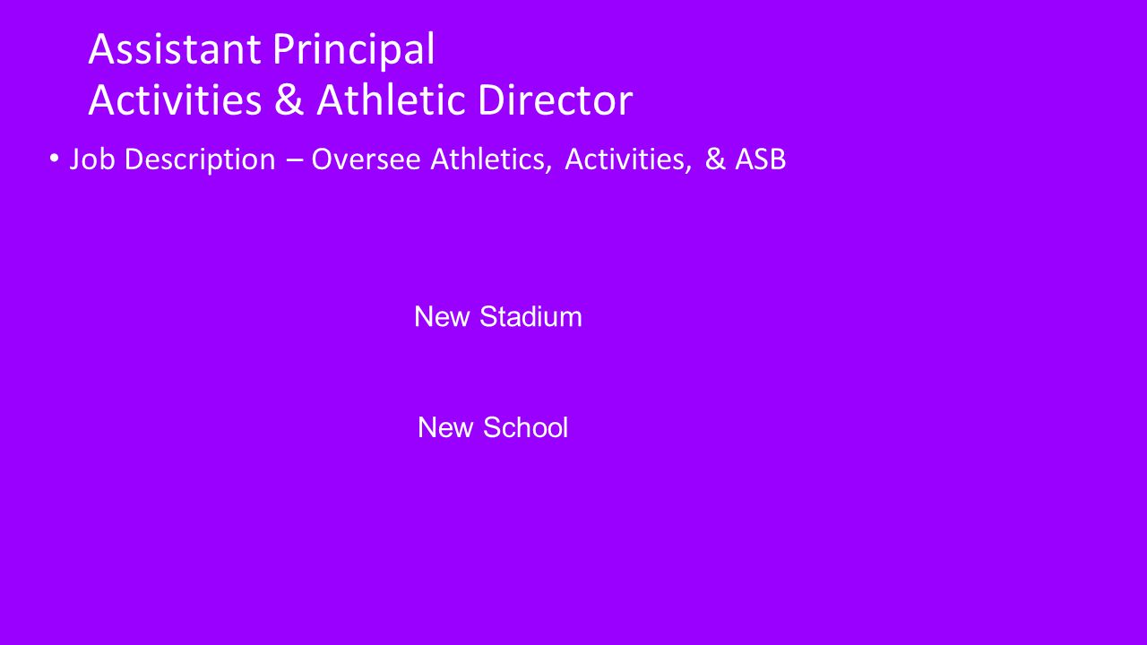 3 Assistant Principal Activities U0026 Athletic Director Job Description U2013  Oversee Athletics, Activities, U0026 ASB New Stadium New School