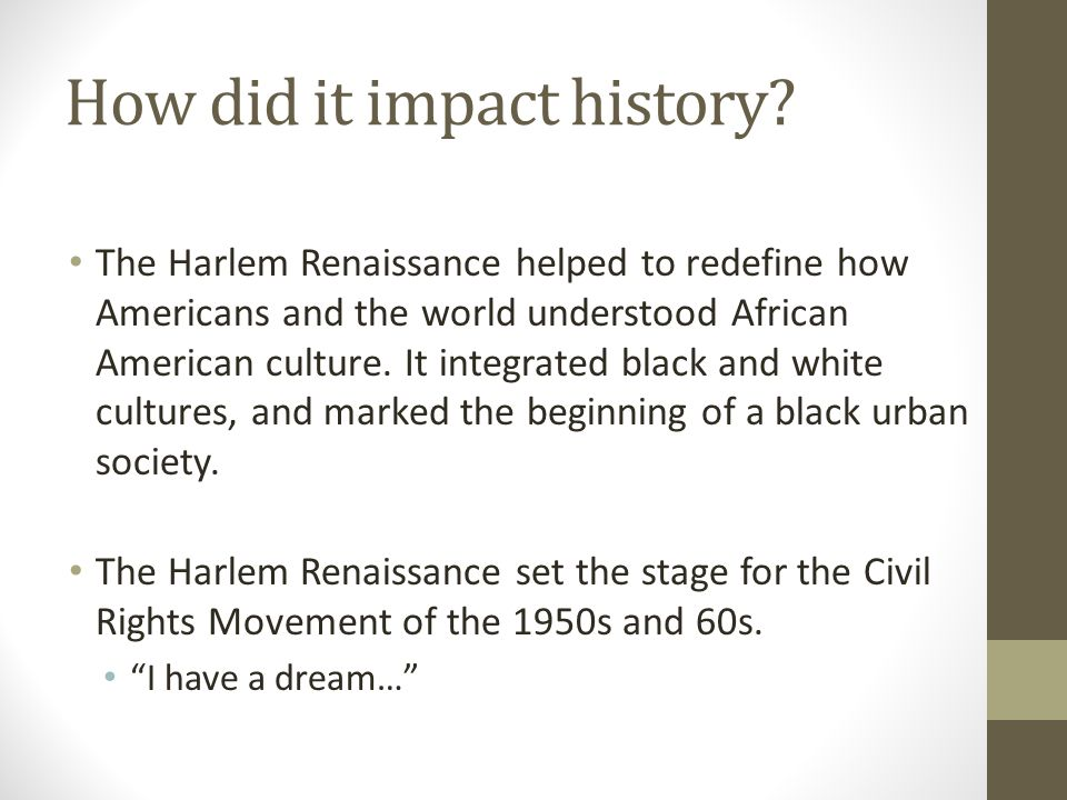 harlem renaissance impact on society