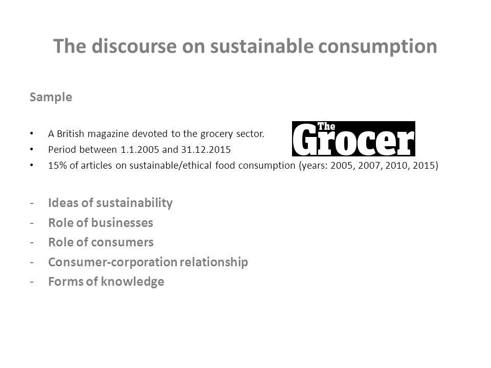 The construction of the figure of the sustainable consumer