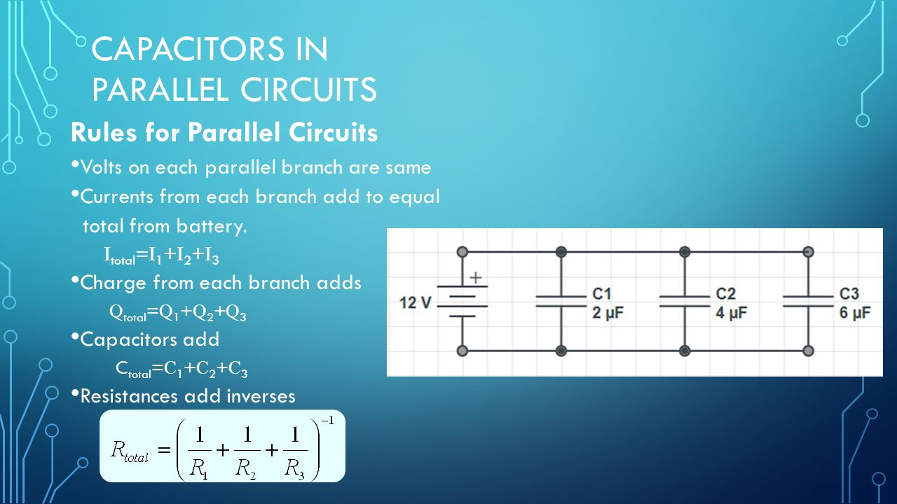 Capacitor Circuits In Series Parallel Combo Ppt Download Circuit Diagram Capacitors Rules For Volts On Each Branch Are Same Currents