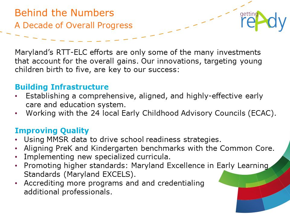 Maryland's RTT-ELC efforts are only some of the many investments that account for the overall gains.