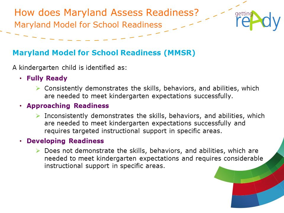 Maryland Model for School Readiness (MMSR) A kindergarten child is identified as: Fully Ready  Consistently demonstrates the skills, behaviors, and abilities, which are needed to meet kindergarten expectations successfully.