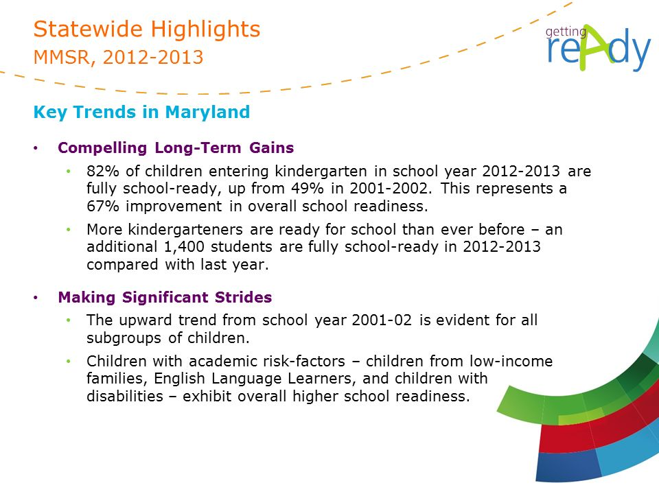 Statewide Highlights MMSR, Key Trends in Maryland Compelling Long-Term Gains 82% of children entering kindergarten in school year are fully school-ready, up from 49% in