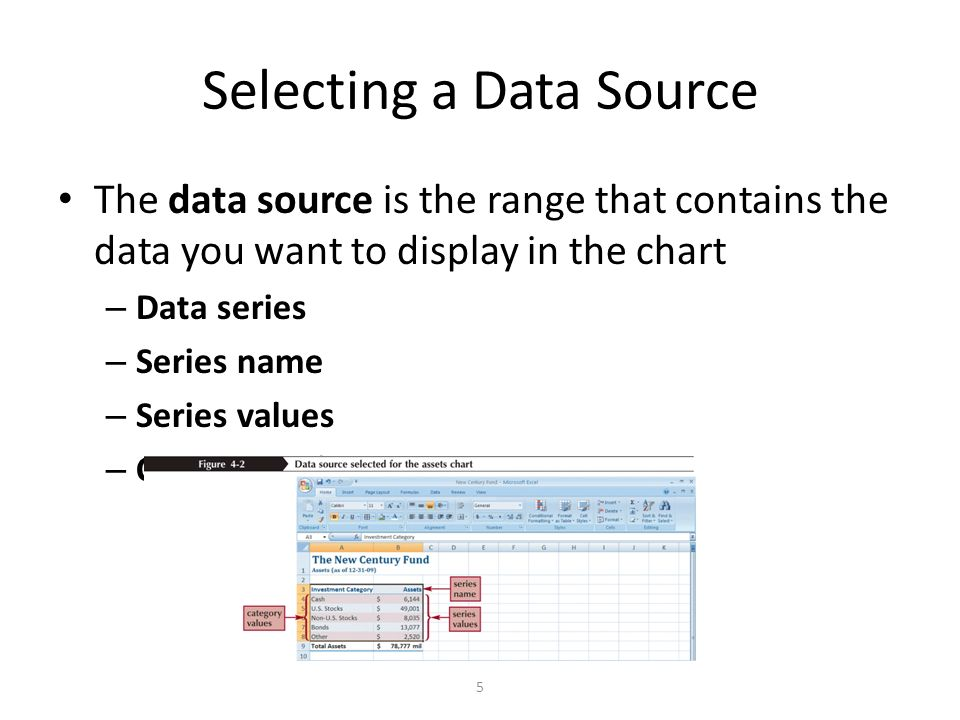 Day 2 ms excel for beginners aniko balogh ceu computer statistics 5 selecting a data source the data source is the range that contains the data you want to display in the chart data series series name series values ccuart Choice Image