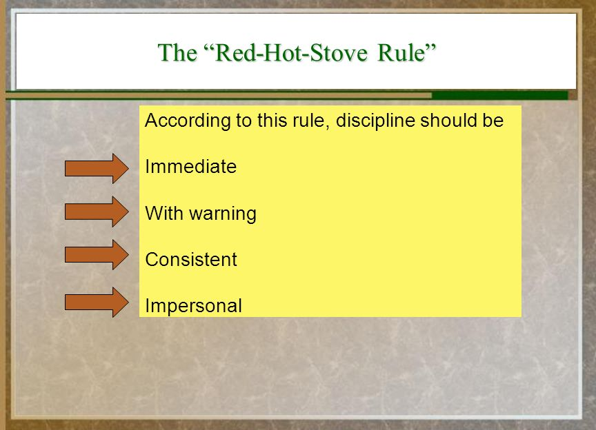what is red hot stove rule