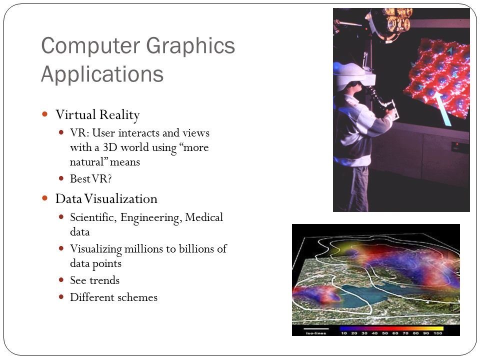 Comp413 computer graphics overview of graphics systems chapter ppt 6 computer graphics applications virtual reality freerunsca Choice Image