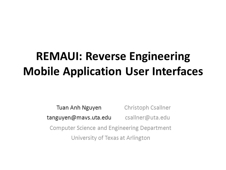 REMAUI: Reverse Engineering Mobile Application User Interfaces