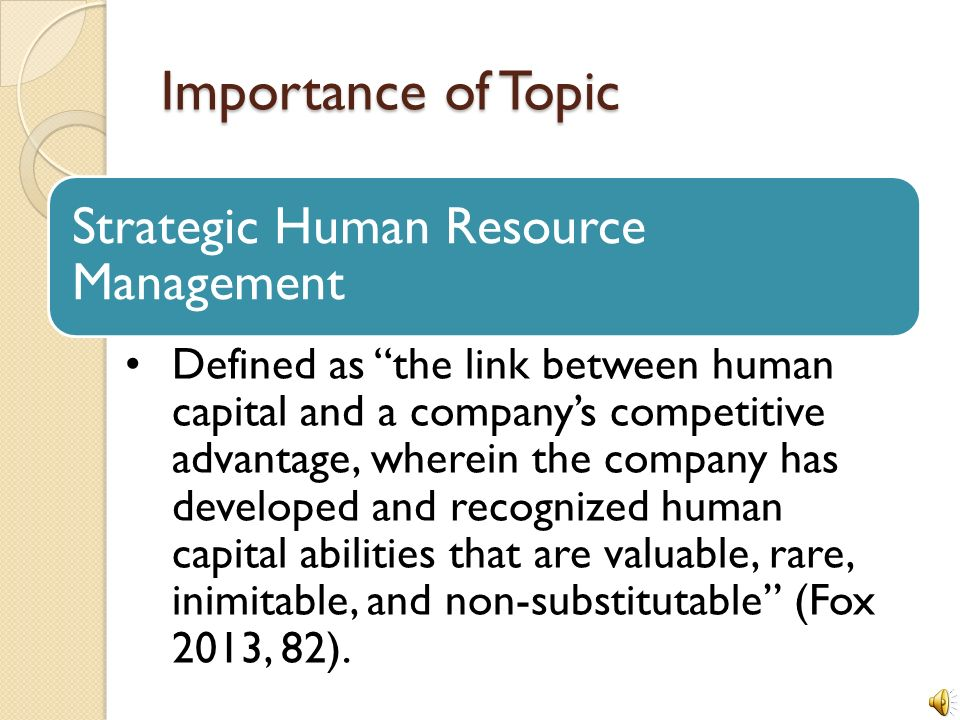 The Efficacy Of Strategic Human Resource Management In Small To Mid