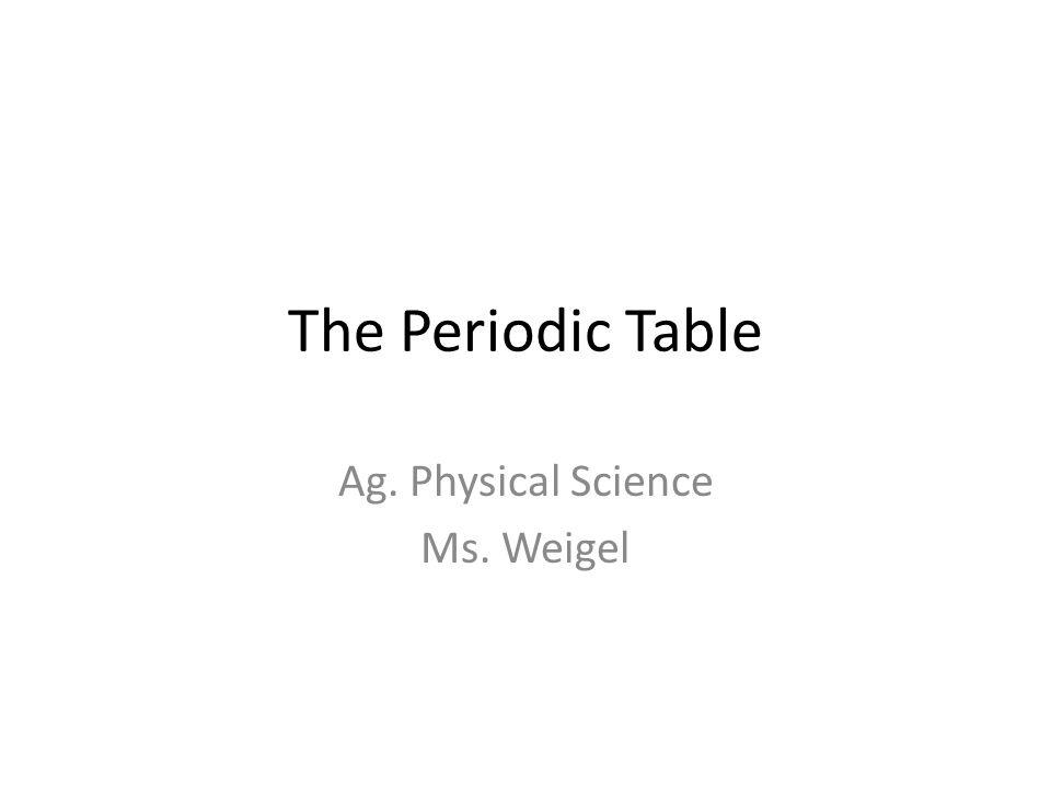 The Periodic Table Ag Physical Science Ms Weigel Ppt Download