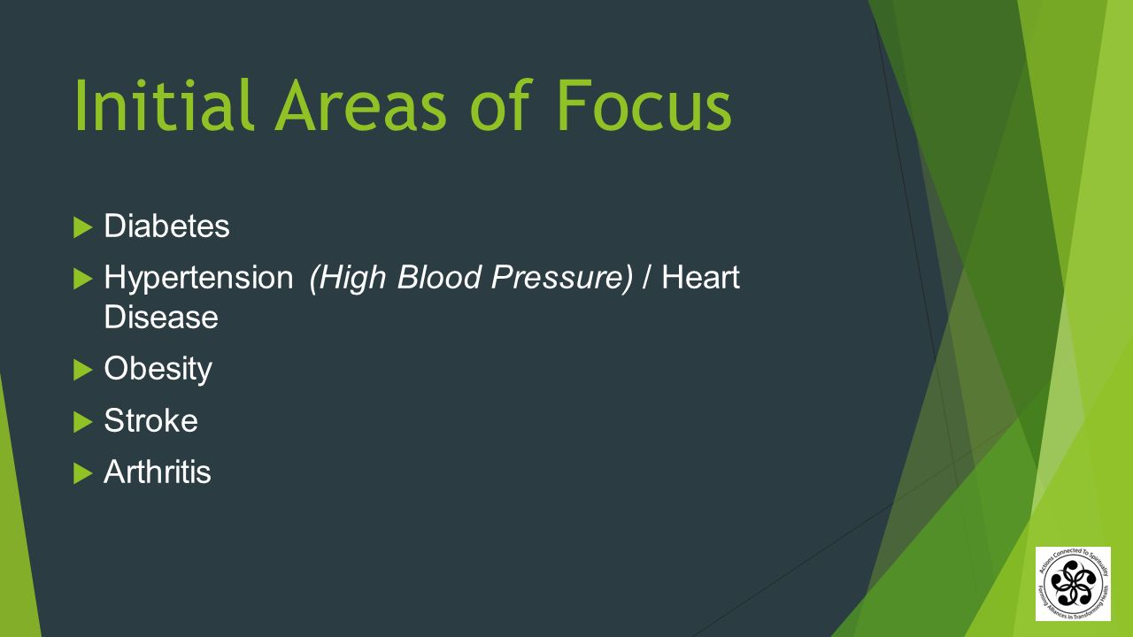 Initial Areas of Focus  Diabetes  Hypertension (High Blood Pressure) / Heart Disease  Obesity  Stroke  Arthritis
