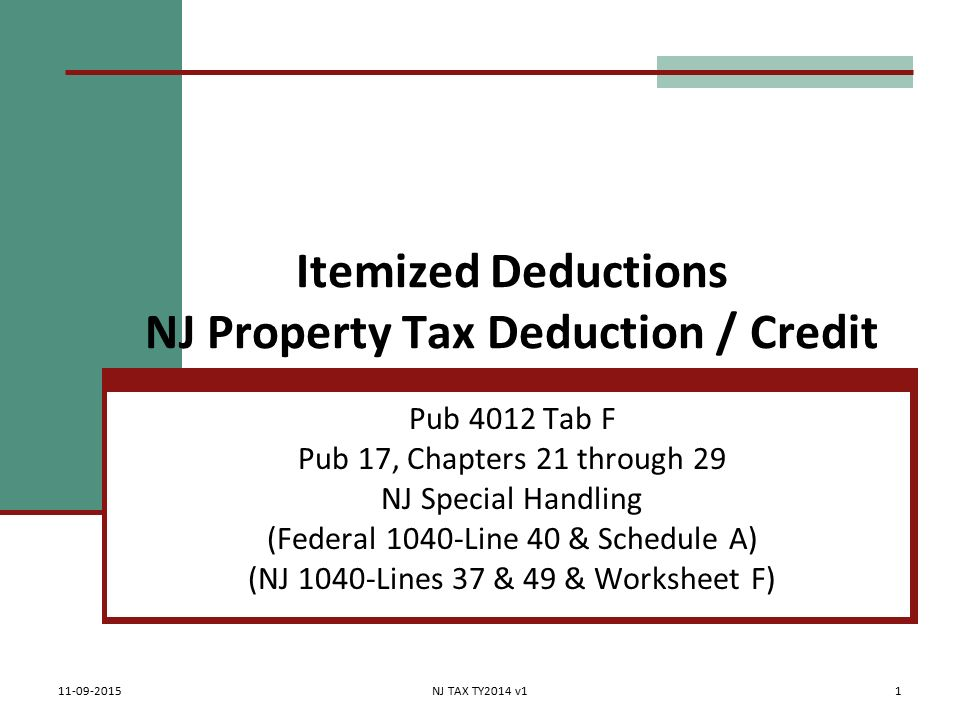 Itemized Deductions Nj Property Tax Deduction Credit Pub 4012 Tab
