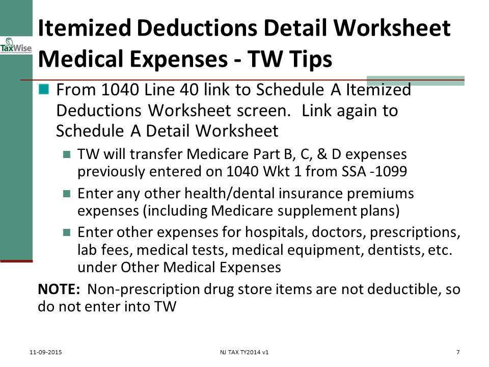 Itemized Deductions Nj Property Tax Deduction Credit Pub 4012 Tab. 7 Itemized Deductions. Worksheet. 1040 Itemized Deductions Worksheet At Clickcart.co
