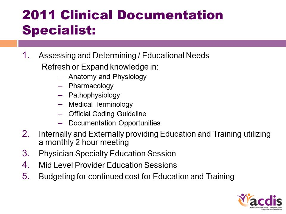 2011 Clinical Documentation Specialist 1