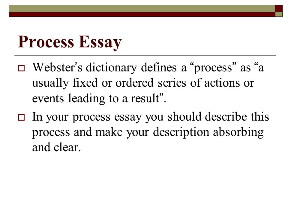 process essay example cooking