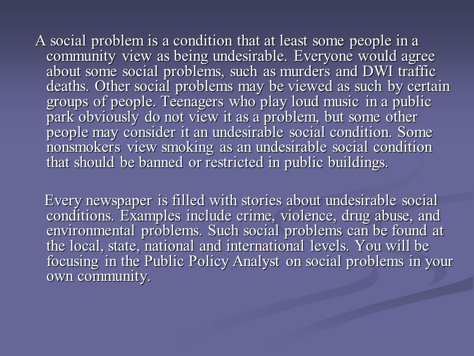 social problems in the community examples