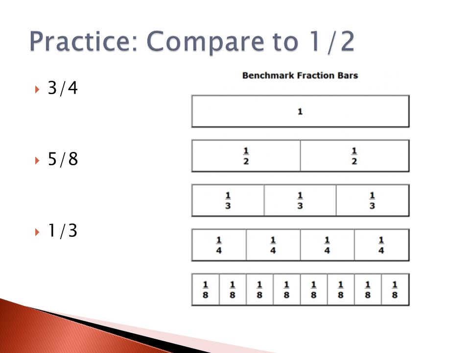 Compare each fraction ◦ 1/4 1/5 ◦ 3/8 5/6 ◦ 5/9 6/7