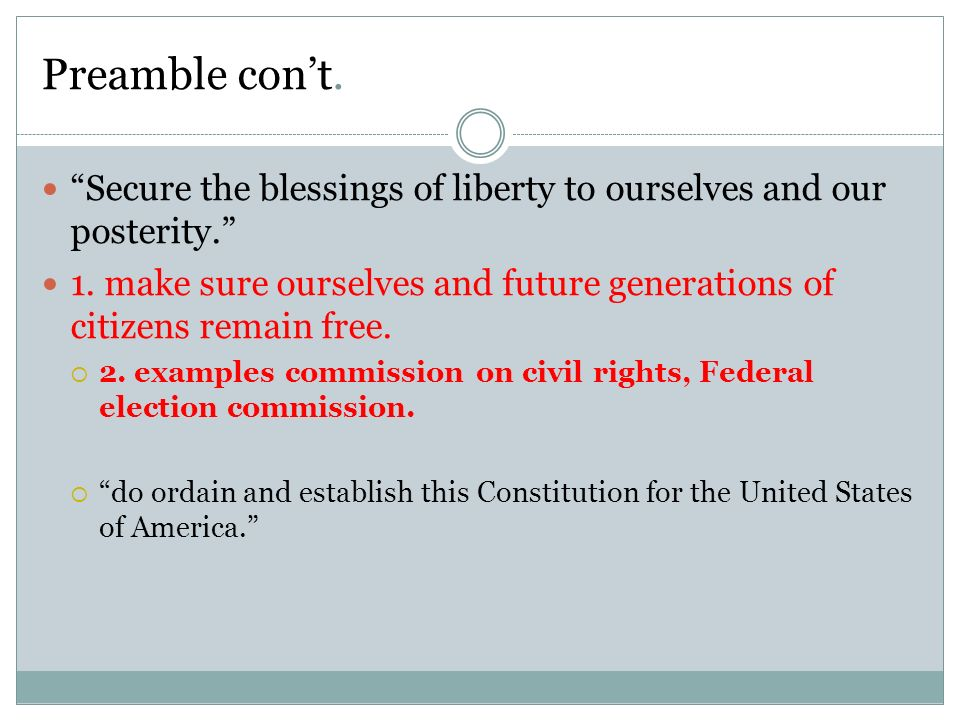 Secure The Blessings Of Liberty To Ourselves And Our Posterity Meaning