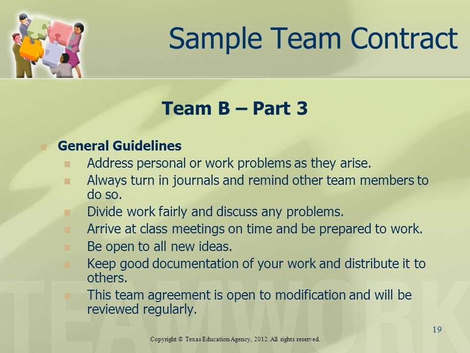Sample Team Contract B Part 3 General Guidelines Address Personal Or Work Problems As