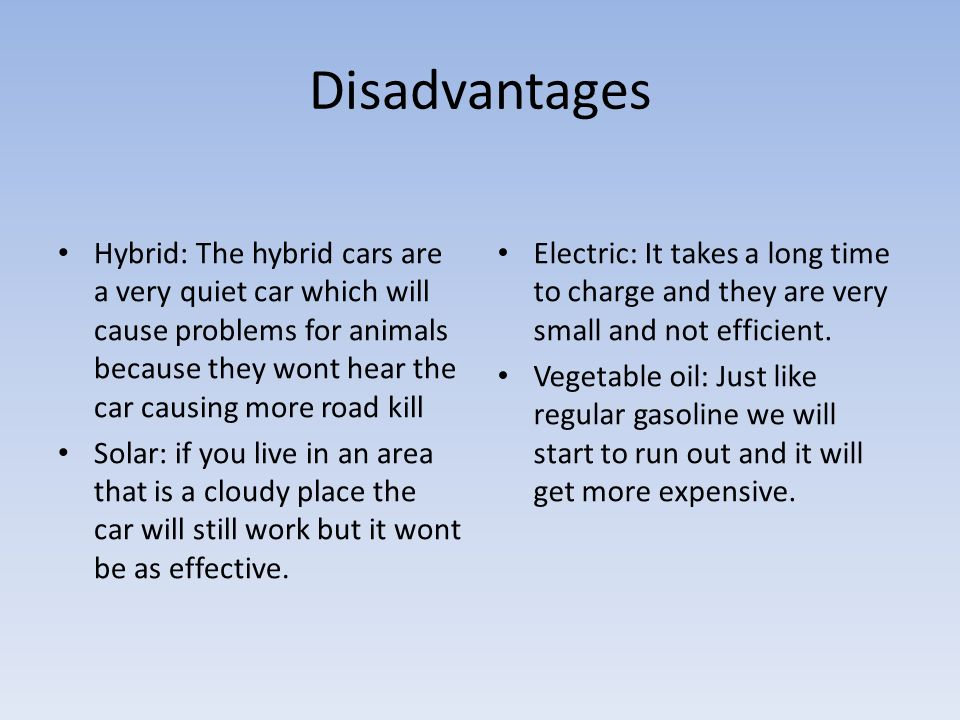 5 Disadvantages Hybrid The Cars Are A Very Quiet Car Which Will Cause Problems For Animals Because They Wont Hear Causing More Road Kill