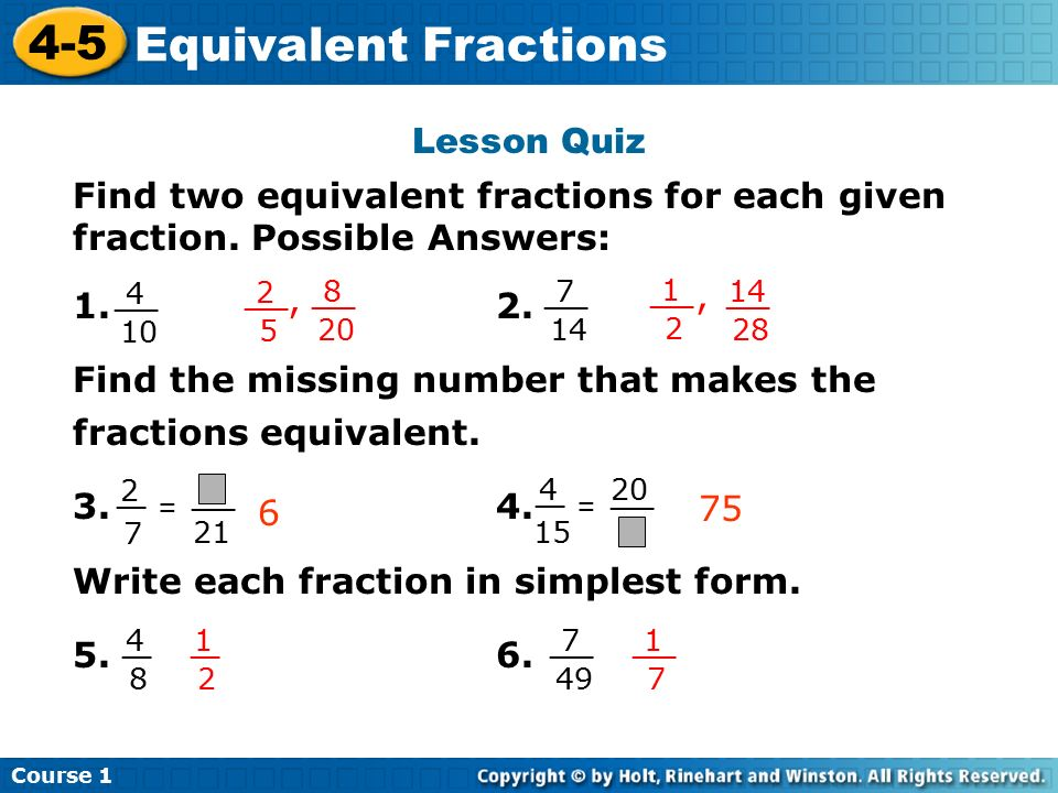 simplest form 5/20  100-100 Equivalent Fractions Course 10 Warm Up Warm Up Problem of ...