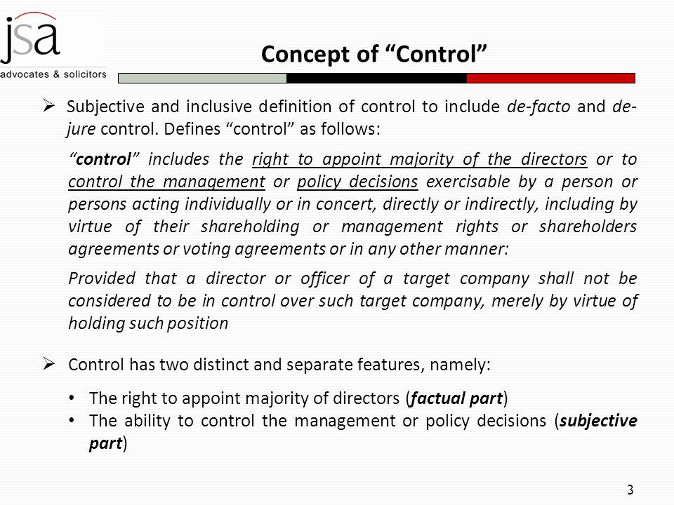 de facto control definition