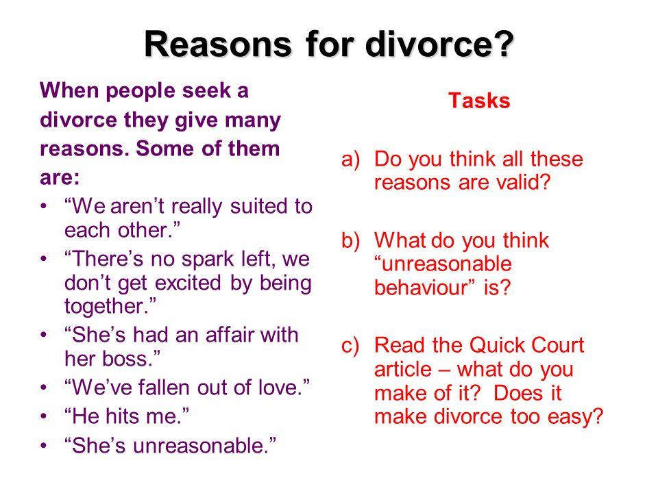 Why people divorce