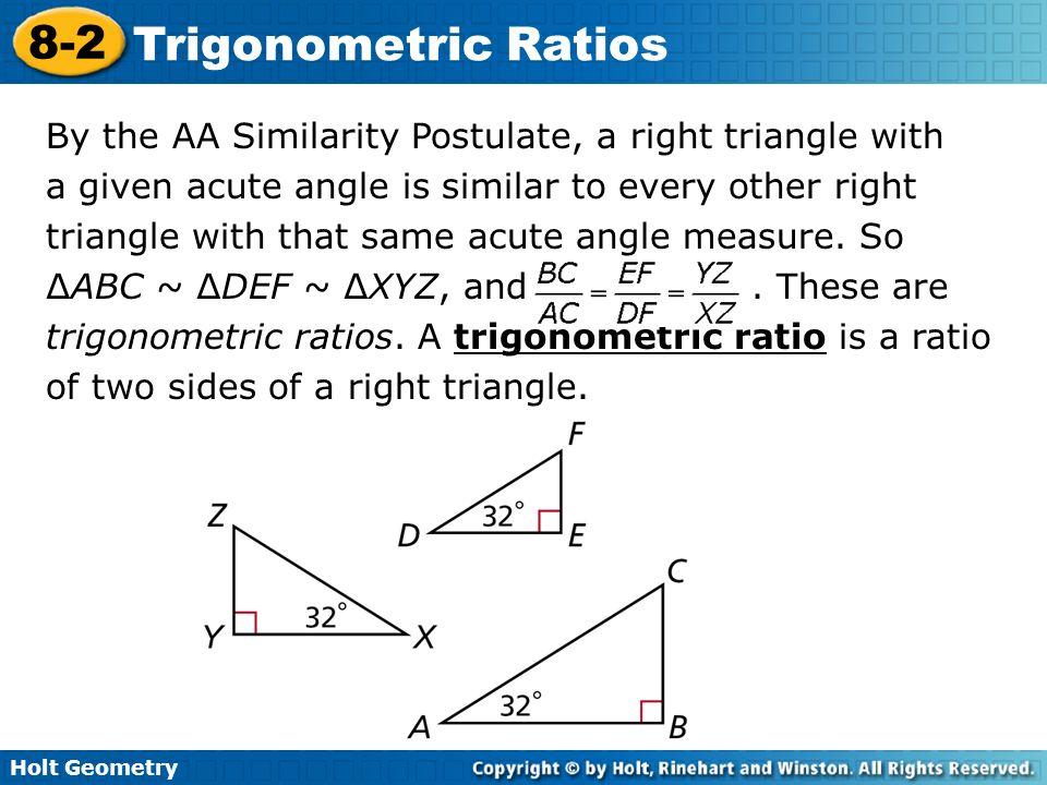holt geometry lesson 8-2 problem solving trigonometric ratios