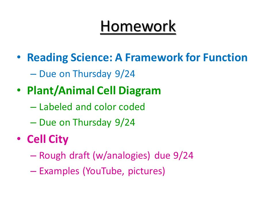 Do now write the question and a response why do cells differ in 4 homework reading science a framework for function due on thursday 924 plantanimal cell diagram labeled and color coded due on thursday 924 cell ccuart Gallery