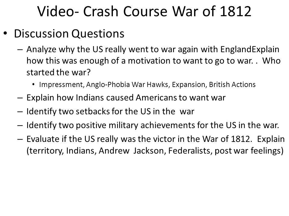 war of 1812 questions quizlet