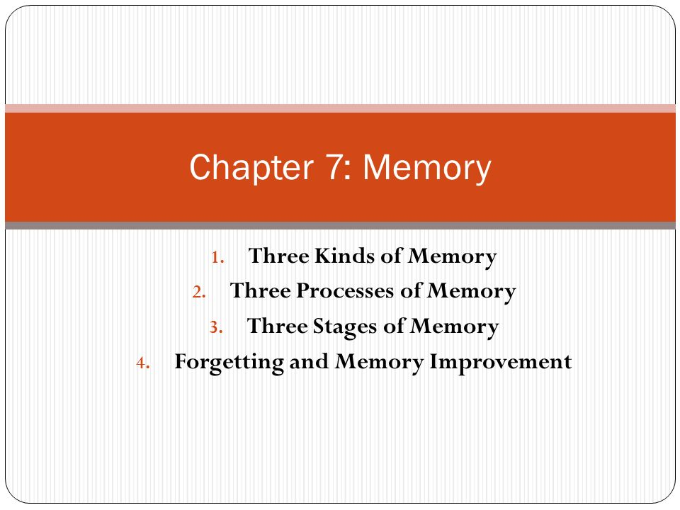 the effects of memory improvement by Models of human memory human memory is commonly dichotomised to involve a short-term and longer-term memory storage this dualistic nature of memory was proposed by the early investigators of memory, such as william james, and waugh and norman (.
