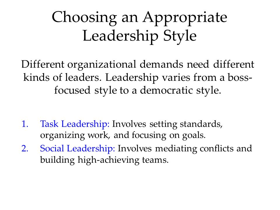 Choosing an Appropriate Leadership Style Different organizational demands need different kinds of leaders.