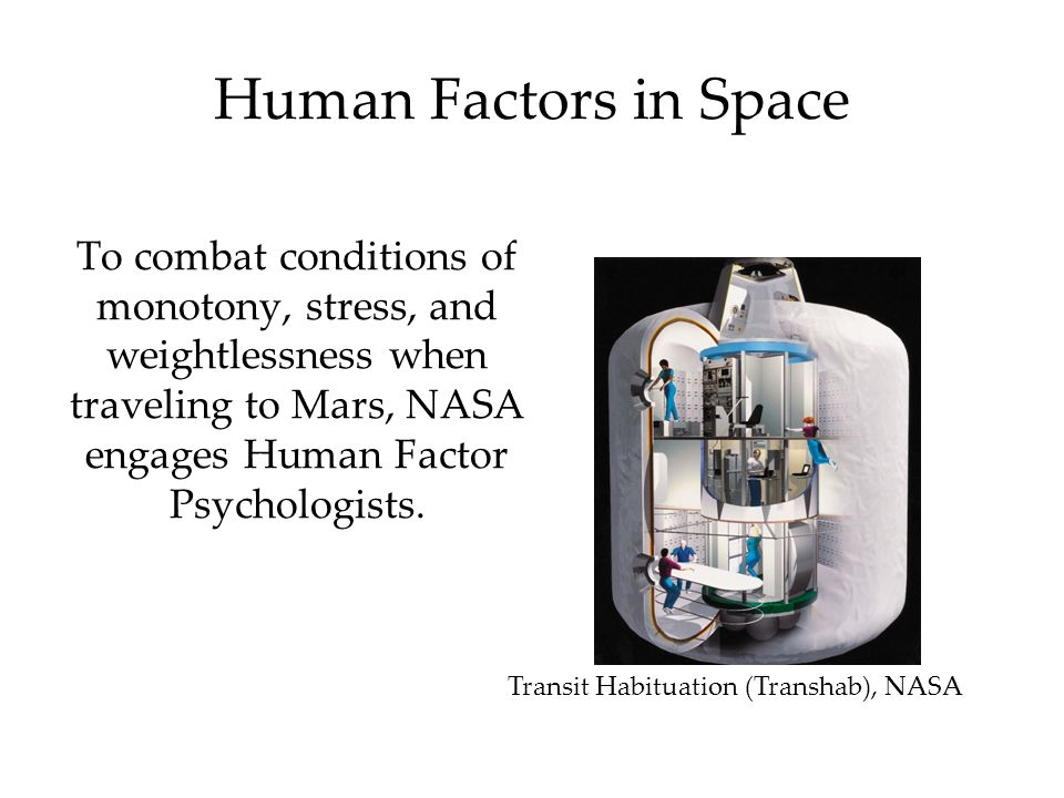 Human Factors in Space To combat conditions of monotony, stress, and weightlessness when traveling to Mars, NASA engages Human Factor Psychologists.