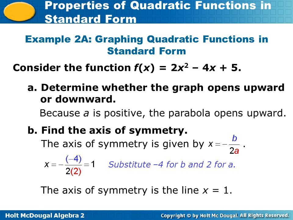 Holt Mcdougal Algebra 2 Properties Of Quadratic Functions In