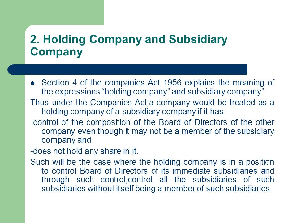 Presentation On Tax Planning Of Holding And Subsidiary Companies