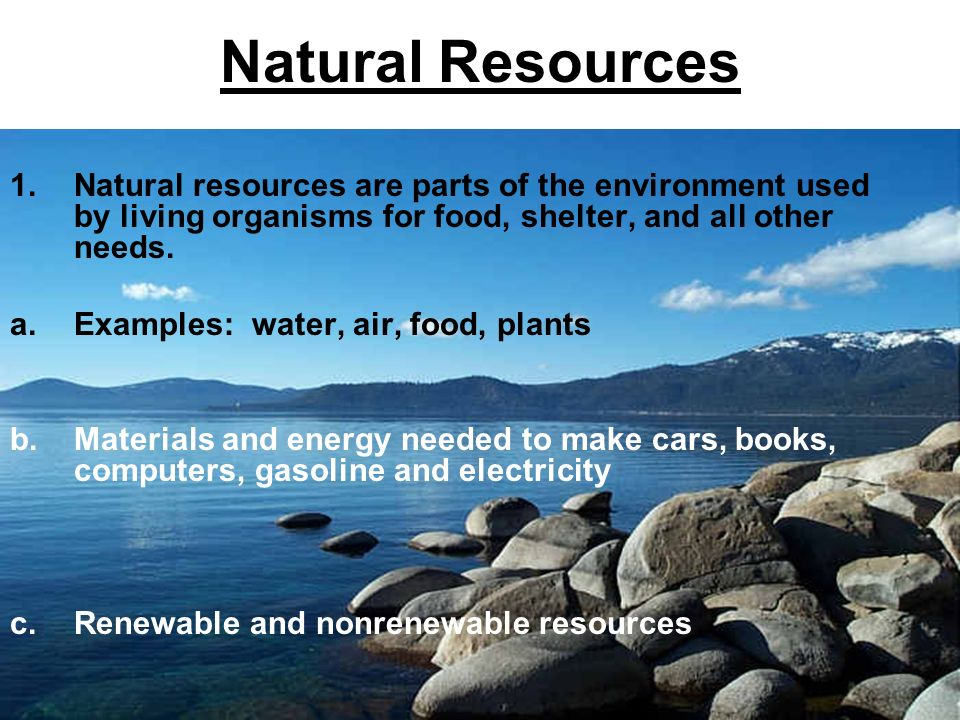 natural resources are parts of the environment used by living organisms for food