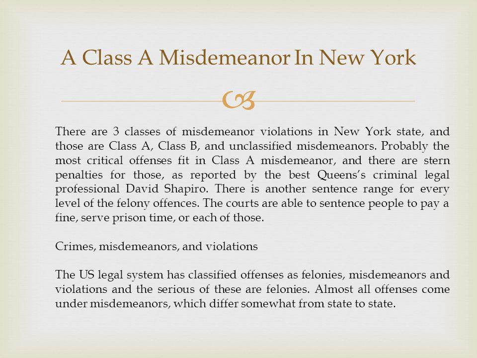 New york state misdemeanor sex crimes