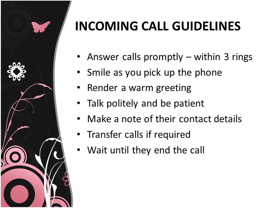 Telephone etiquette presented by poorni d c incoming call ppt 3 incoming m4hsunfo