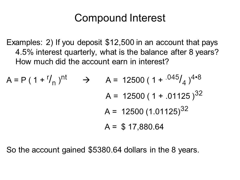 compound interest i.. compound interest: a = p ( 1 + r / n ) nt a