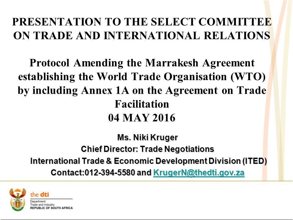 Presentation To The Select Committee On Trade And International
