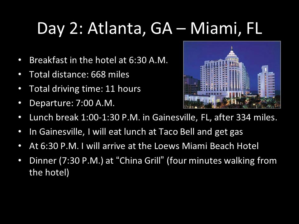 1 Itinerary I Am Making A Trip Of 7 Days To Miami Florida This Is