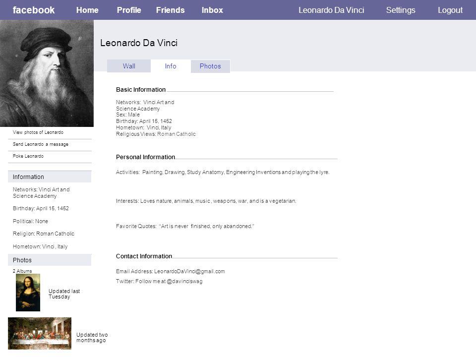 Facebook Leonardo Da Vinci Homeprofilefriendsinboxleonardo Da