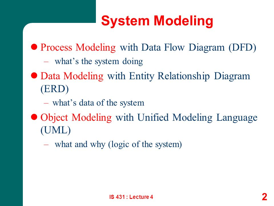 1 Systems Analysis Design Process Modeling Is 431 Lecture 4 Csun Information Systems Ppt Download