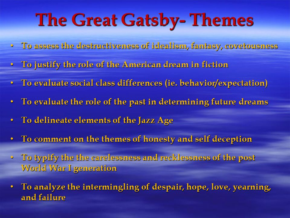 A paper on gatsby as a romantic idealist